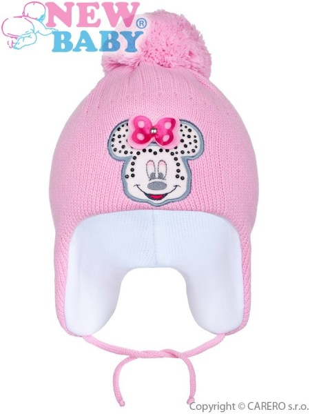 Zimní dětská čepička New Baby Minnie tmavě růžová 104 (3-4r)