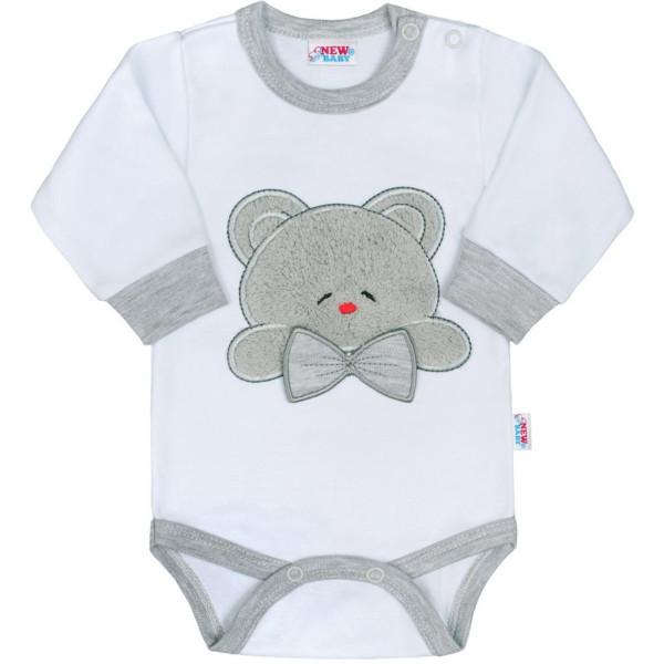 Luxusní kojenecké body s dlouhým rukávem New Baby Honey Bear s 3D aplikací 80 (9-12m)