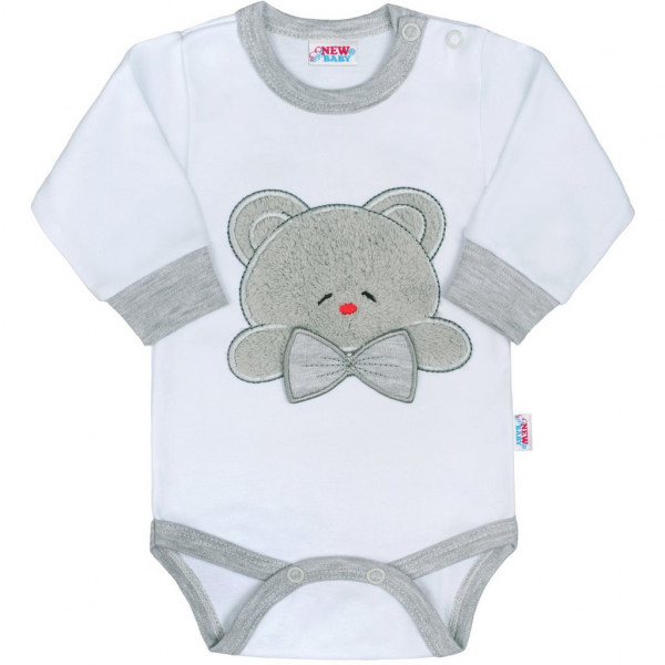 Luxusní kojenecké body s dlouhým rukávem New Baby Honey Bear s 3D aplikací 86 (12-18m)