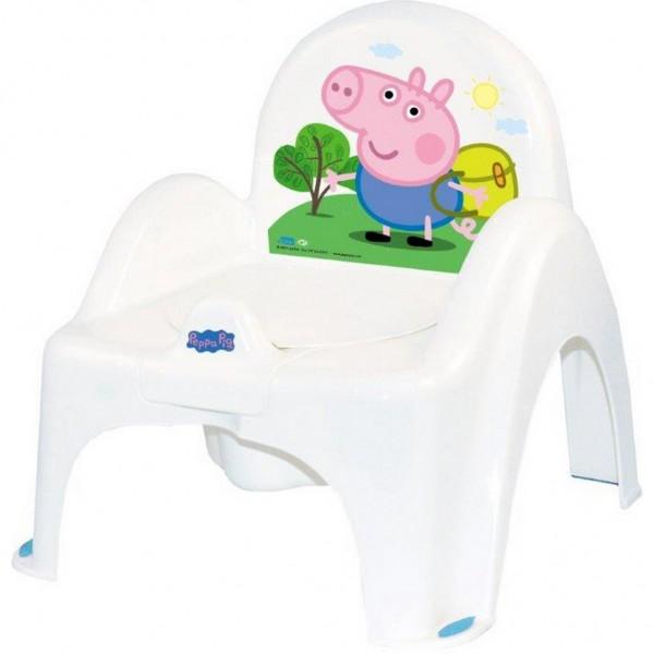 Hrající dětský nočník s poklopem Peppa Pig white-blue