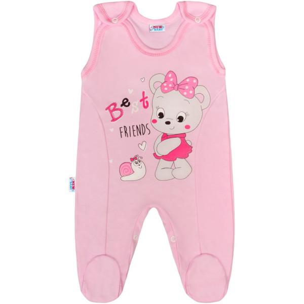 Kojenecké dupačky New Baby medvídek růžové 50