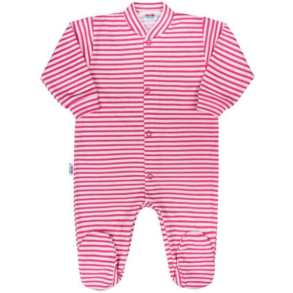 Kojenecký overal New Baby Classic II s růžovými pruhy 56 (0-3m)