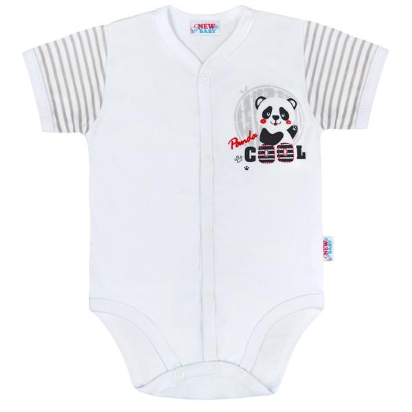 Kojenecké celorozepínací body s krátkým rukávem New Baby Panda 56 (0-3m)