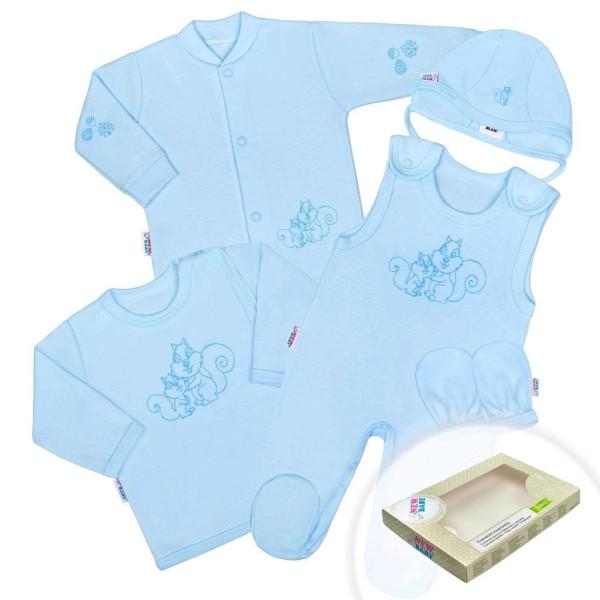 5-dílná soupravička New Baby Veverky modrá 56 (0-3m)