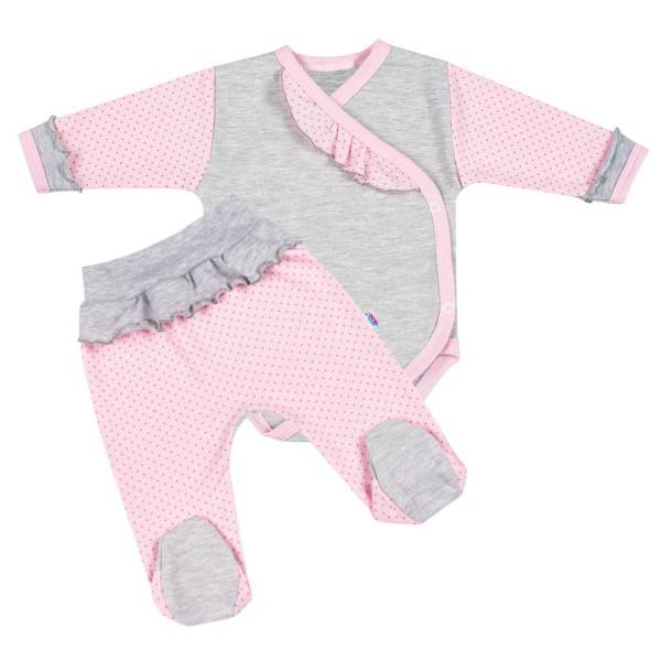 2-dílná kojenecká souprava New Baby Puntík II šedo-růžová 62 (3-6m)