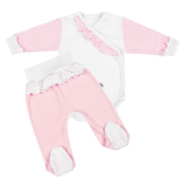 2-dílná kojenecká souprava New Baby Puntík II bílo-růžová 68 (4-6m)