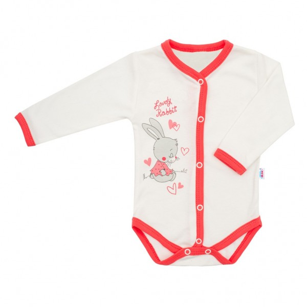 Dětské celorozepínací body New Baby Lovely Rabbit růžové 50