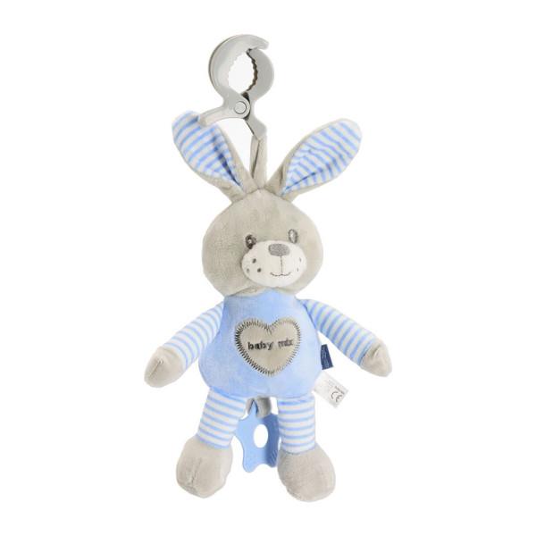 Edukační hrající plyšová hračka s klipem Baby Mix králík modrý