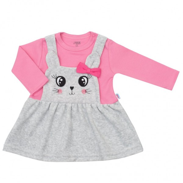 Kojenecké semiškové šatičky New Baby For Babies růžové 62 (3-6m)