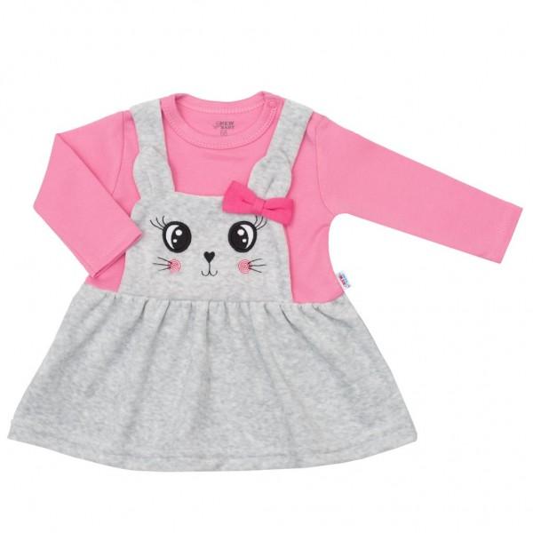 Kojenecké semiškové šatičky New Baby For Babies růžové 80 (9-12m)