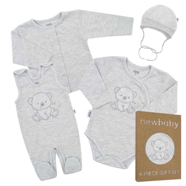 Kojenecká soupravička do porodnice New Baby Sweet Bear šedá 56 (0-3m)