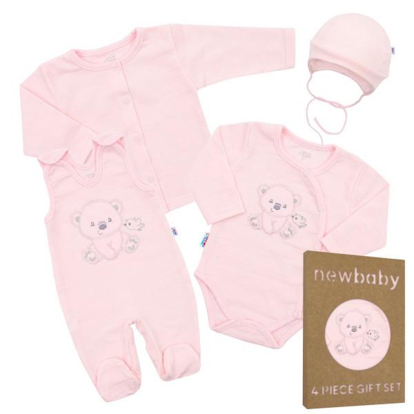 Kojenecká soupravička do porodnice New Baby Sweet Bear růžová 56 (0-3m)