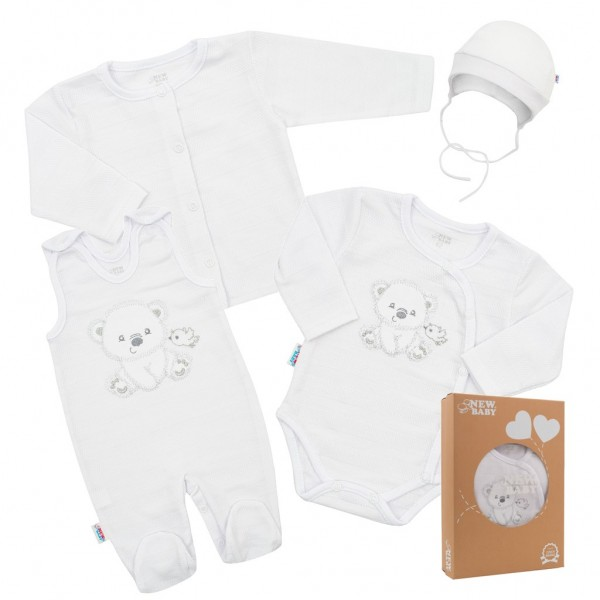Kojenecká soupravička do porodnice New Baby Sweet Bear bílá 62 (3-6m)