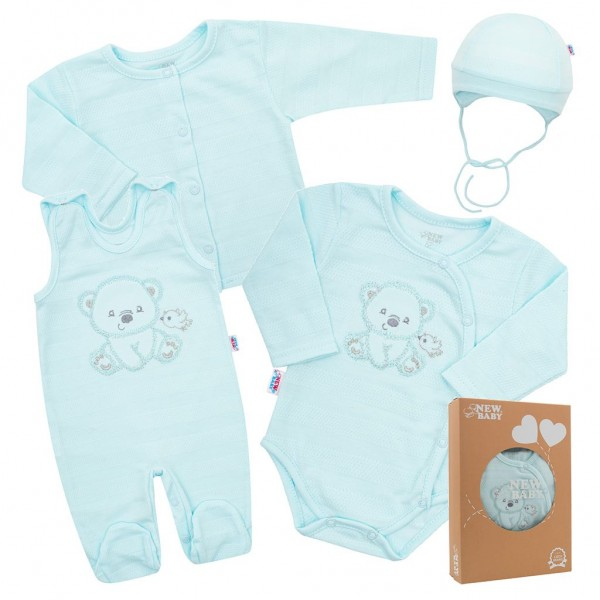 Kojenecká soupravička do porodnice New Baby Sweet Bear modrá 62 (3-6m)
