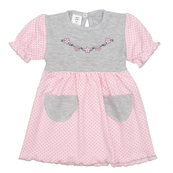 Kojenecké šatičky s krátkým rukávem New Baby Summer dress růžovo-šedé 68 (4-6m)