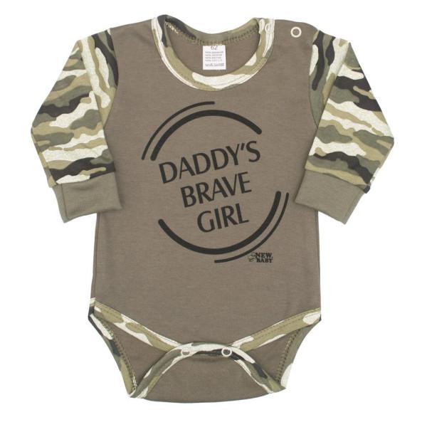 Kojenecké body s dlouhým rukávem New Baby Army girl 74 (6-9m)