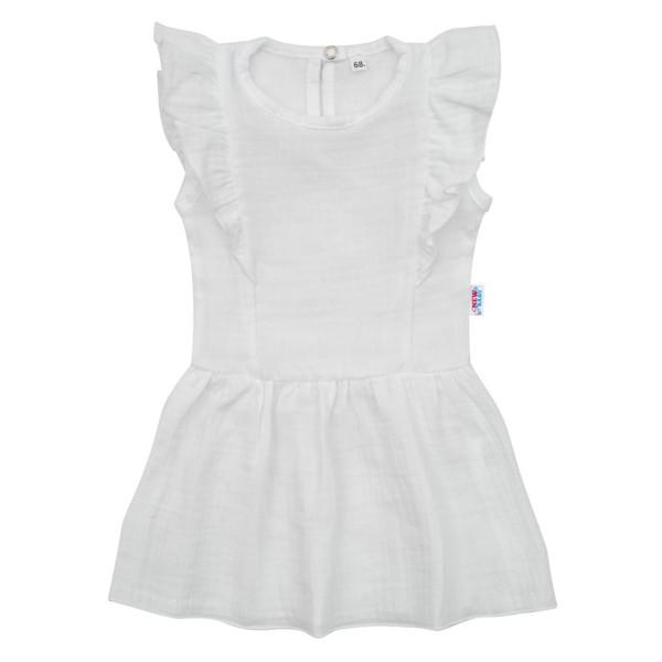 Kojenecké mušelínové šaty New Baby Summer Nature Collection bílé 56 (0-3m)