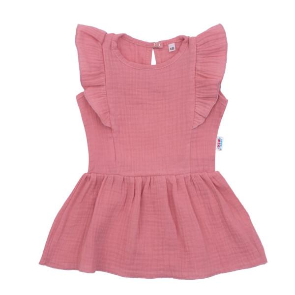 Kojenecké mušelínové šaty New Baby Summer Nature Collection růžové 56 (0-3m)