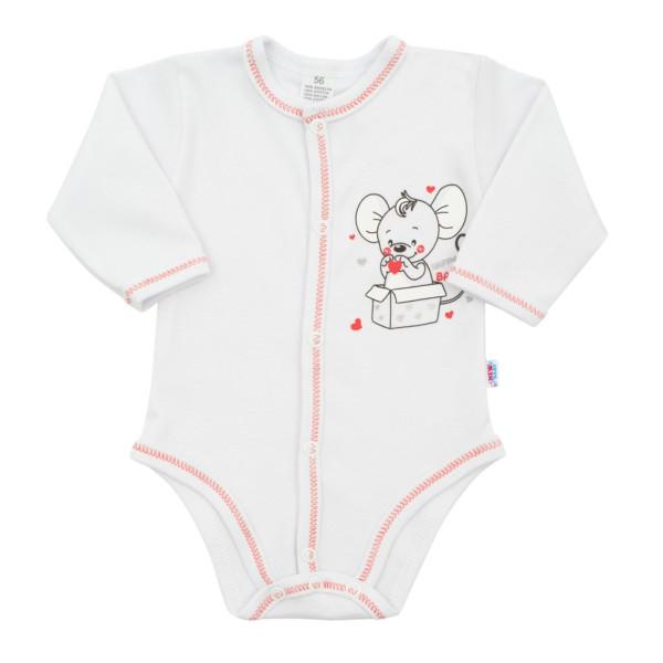 Kojenecké celorozepínací body New Baby Mouse bílé 56 (0-3m)