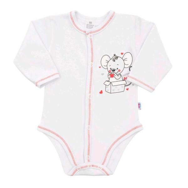 Kojenecké celorozepínací body New Baby Mouse bílé 68 (4-6m)