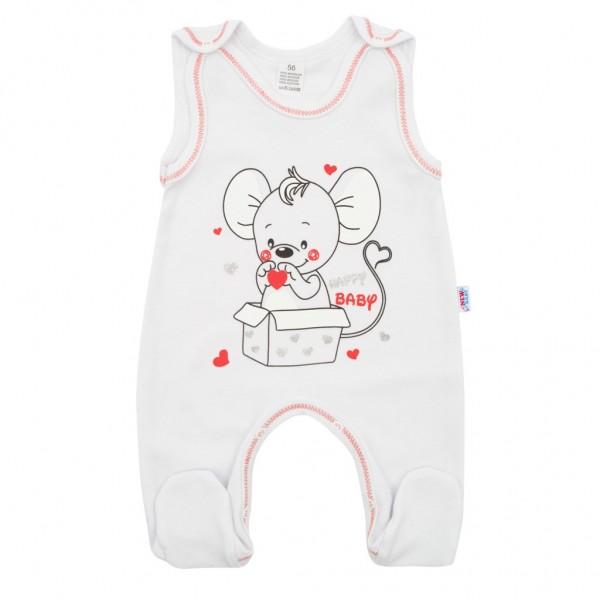 Kojenecké dupačky New Baby Mouse bílé 56 (0-3m)