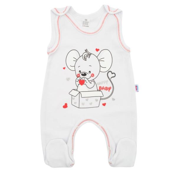 Kojenecké dupačky New Baby Mouse bílé 74 (6-9m)