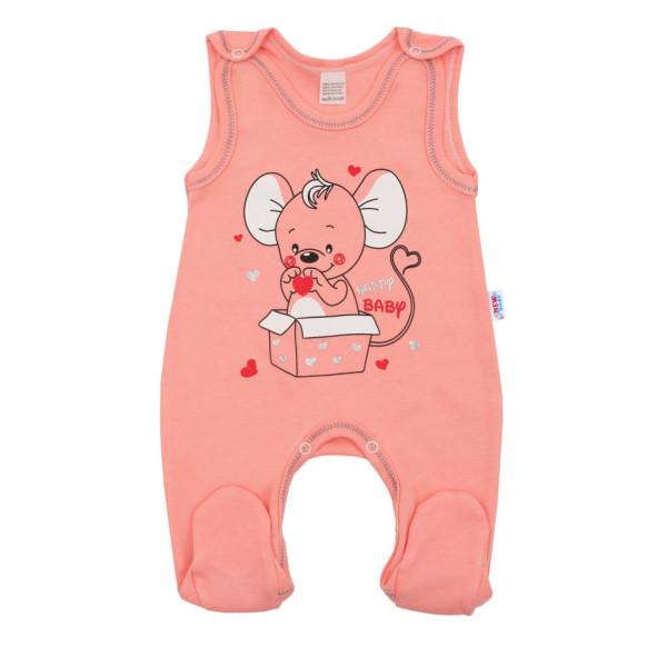 Kojenecké dupačky New Baby Mouse lososové 74 (6-9m)