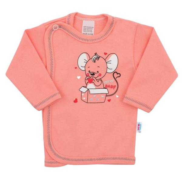 Kojenecká košilka New Baby Mouse lososová 68 (4-6m)