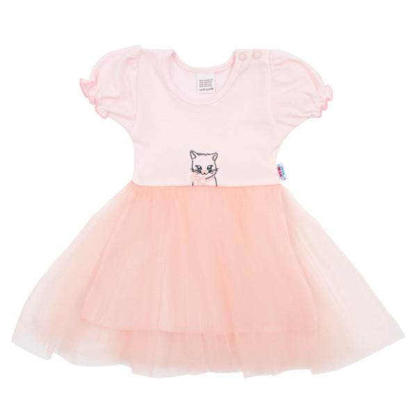 Kojenecké šatičky s tylovou sukýnkou New Baby Wonderful růžové 68 (4-6m)