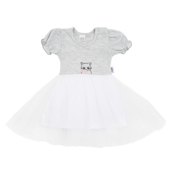 Kojenecké šatičky s tylovou sukýnkou New Baby Wonderful šedé 68 (4-6m)