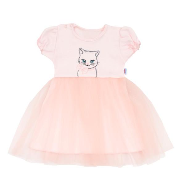 Kojenecké šatičky s tylovou sukýnkou New Baby Wonderful růžové 74 (6-9m)
