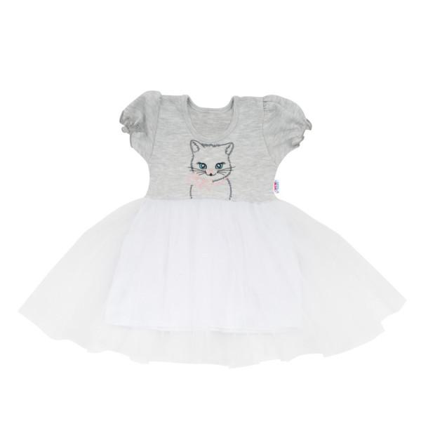 Kojenecké šatičky s tylovou sukýnkou New Baby Wonderful šedé 74 (6-9m)