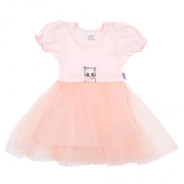 Kojenecké šatičky s tylovou sukýnkou New Baby Wonderful růžové 80 (9-12m)