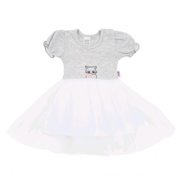 Kojenecké šatičky s tylovou sukýnkou New Baby Wonderful šedé 80 (9-12m)