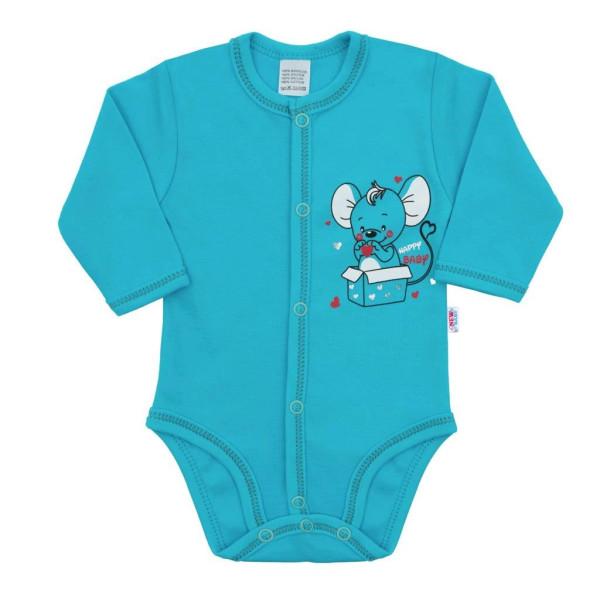Kojenecké celorozepínací body New Baby Mouse tyrkysové 68 (4-6m)