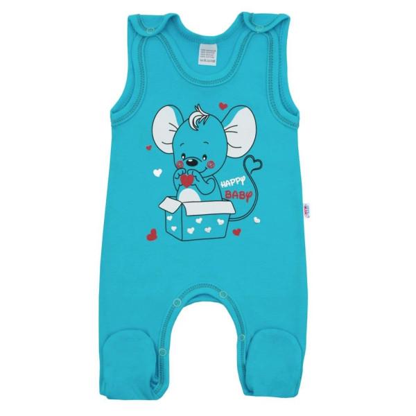 Kojenecké dupačky New Baby Mouse tyrkysové 74 (6-9m)