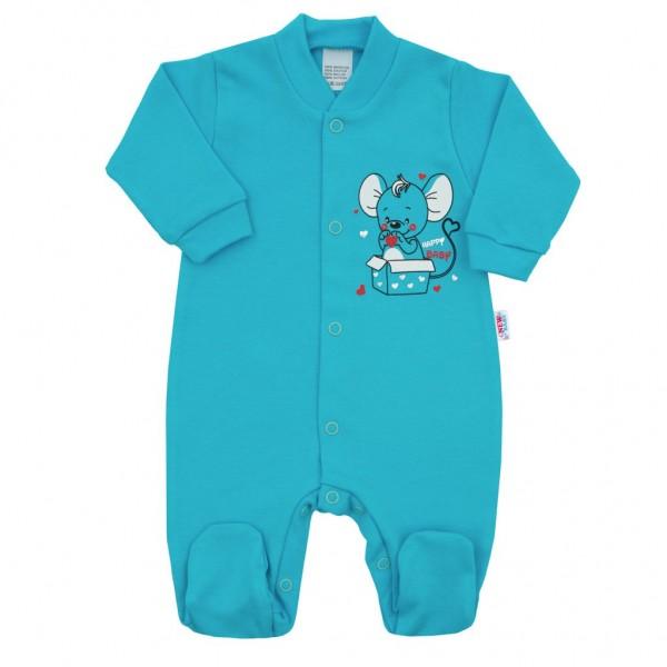 Kojenecký overal New Baby Mouse tyrkysový 56 (0-3m)