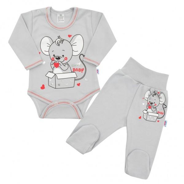 Kojenecká soupravička New Baby Mouse šedá 56 (0-3m)