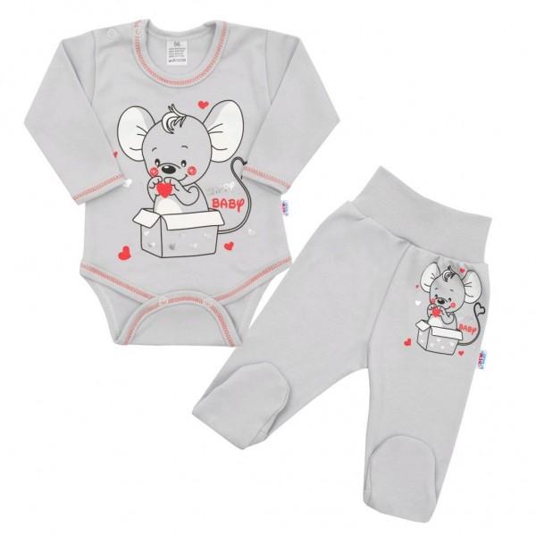 Kojenecká soupravička New Baby Mouse šedá 62 (3-6m)