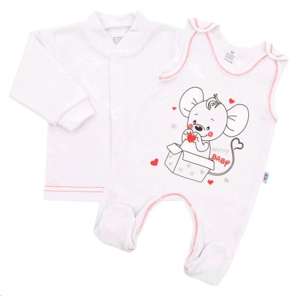 Kojenecká soupravička New Baby Mouse bílá 74 (6-9m)