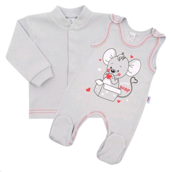Kojenecká soupravička New Baby Mouse šedá 74 (6-9m)