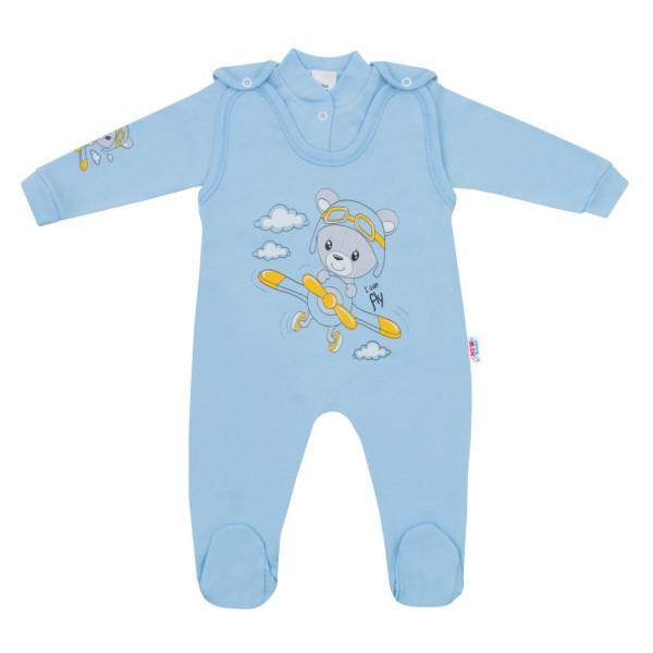 2-dílná souprava New Baby Teddy pilot modrá 56 (0-3m)