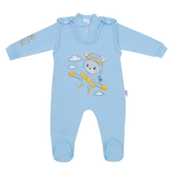 2-dílná souprava New Baby Teddy pilot modrá 74 (6-9m)