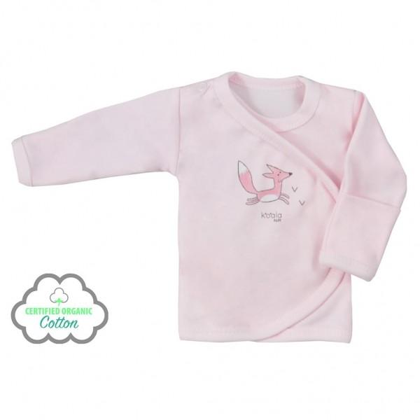 Kojenecká košilka z organické bavlny Koala Lesní Přítel růžová 56 (0-3m)