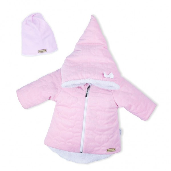 Zimní kojenecký kabátek s čepičkou Nicol Kids Winter růžový 56 (0-3m)