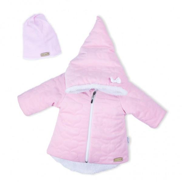 Zimní kojenecký kabátek s čepičkou Nicol Kids Winter růžový 62 (3-6m)