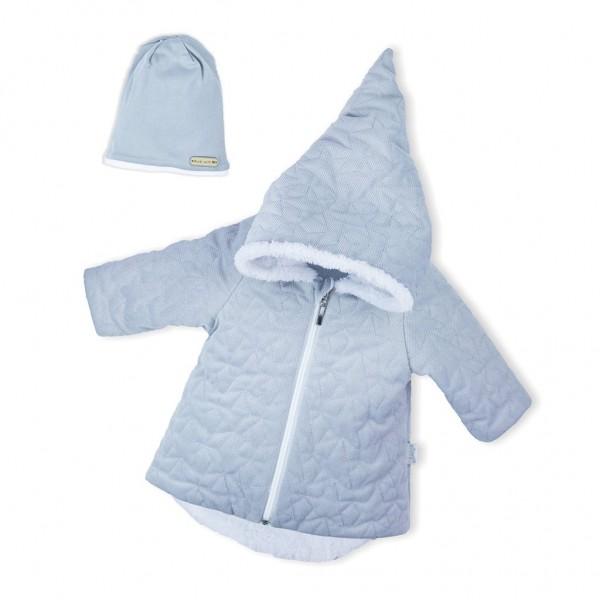 Zimní kojenecký kabátek s čepičkou Nicol Kids Winter šedý 56 (0-3m)