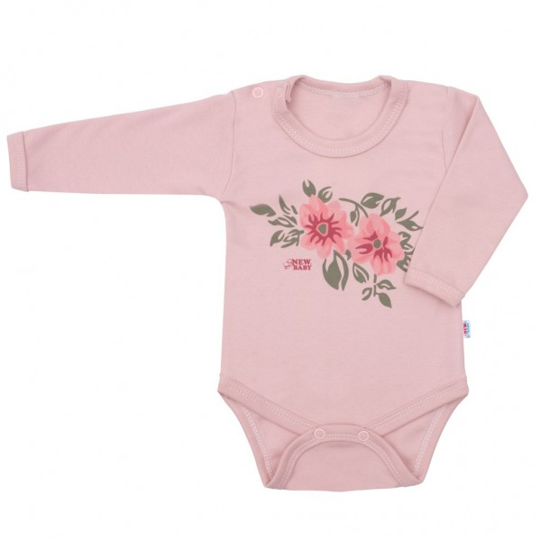 Kojenecké body s dlouhým rukávem New Baby Flowers růžové 56 (0-3m)