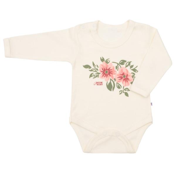 Kojenecké body s dlouhým rukávem New Baby Flowers béžové 56 (0-3m)