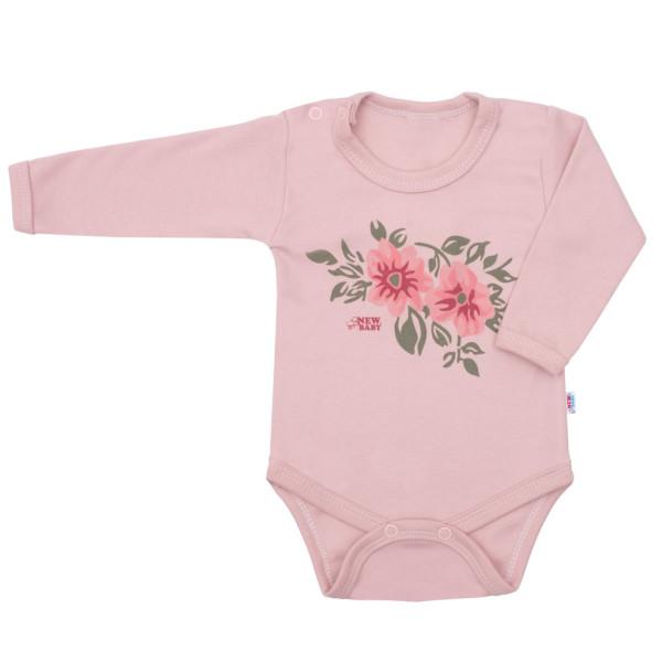 Kojenecké body s dlouhým rukávem New Baby Flowers růžové 74 (6-9m)